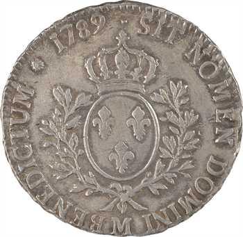 Louis XVI, écu aux rameaux d'olivier, 1789 Toulouse