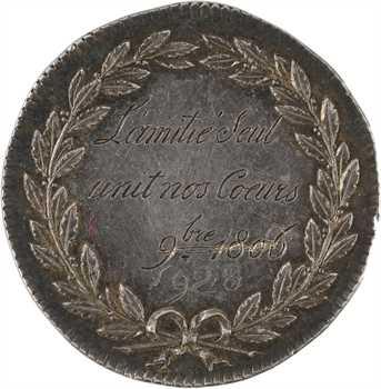 Premier Empire, prix de la bonne fille, par Gatteaux, transformée en médaille de mariage, 1806 Paris
