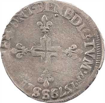 Henri III, double sol parisis, 2e type, 1579/8 Troyes