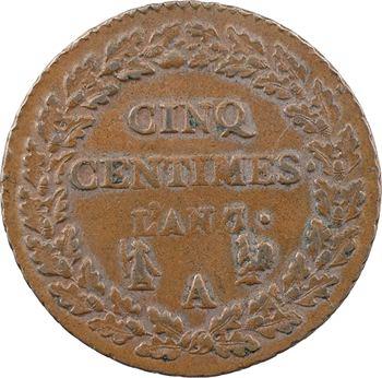 Le Directoire, cinq centimes Dupré, An 7/5 Paris coq/corne