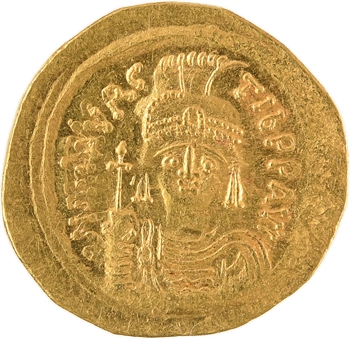 Maurice Tibère, solidus, Constantinople, 3e officine, 585-586