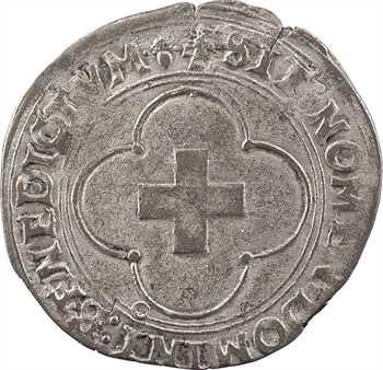François Ier, douzain à la croisette, (1541-1542) Troyes (gland droit)