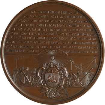 Second Empire, pose de la première pierre de l'Hôtel de ville du Havre, 1855 Paris