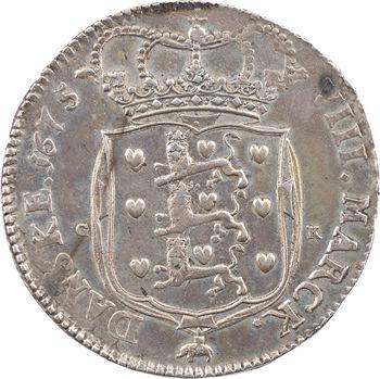 Danemark, Christian V, 2 couronnes (8 marks), 1675 Copenhague