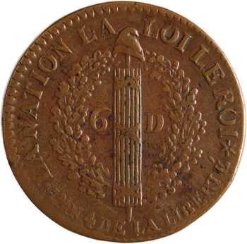 Constitution, 6 deniers FRANÇAIS, An 4, 1792 Strasbourg