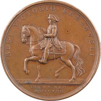 Italie, Victor-Emmanuel Ier, le retour du Roi à Turin (hommage à la Garde Mobile), par Lavy, 1814