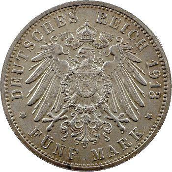 Allemagne, Hambourg (ville libre de), 5 mark, 1913 Hambourg