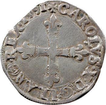 Charles X, quart d'écu, croix de face, 1591 Nantes