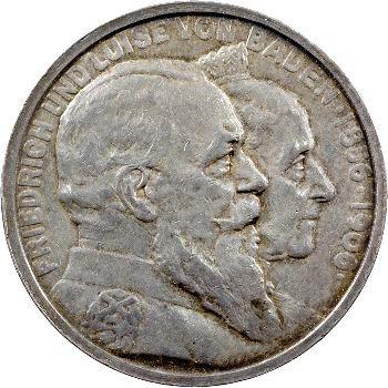 Allemagne, Bade (Grand-duché de), Frédéric I, 5 mark d'hommage, 1906 Karlsruhe
