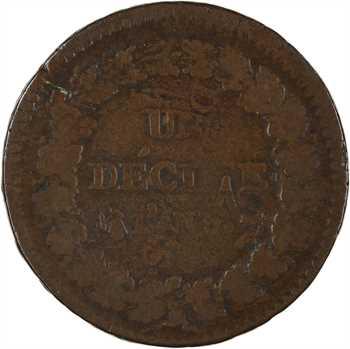 Directoire, un décime, refrappage du 2 décimes, An (5 ?) Paris