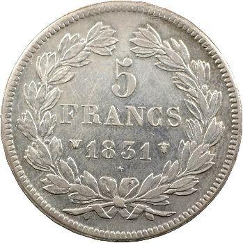 Louis-Philippe Ier, 5 francs Ier type Domard, tranche en relief, 1831 Lille