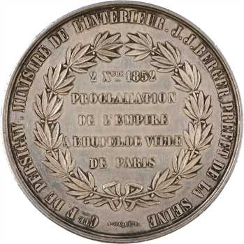 Second Empire, proclamation de l'Empire, médaille en argent, 1852 Paris