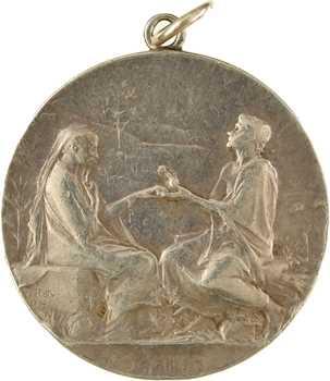 Roty (L.-O.) : Semper, médaille de mariage en argent, 1904 Paris