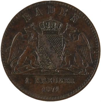 Allemagne, Bade (Grand-duché de), Frédéric Ier, 1 kreuzer, 1871