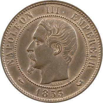 Second Empire, dix centimes tête nue, visite de la Bourse de Lille, 1853 Lille