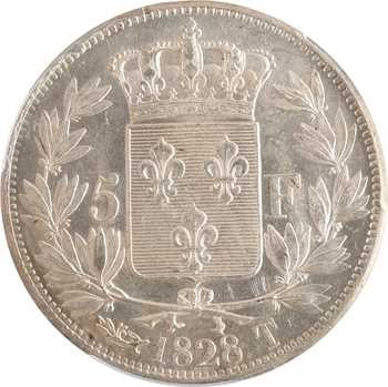 Charles X, 5 francs 2e type, 1828 Nantes, PCGS MS63