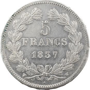 Louis-Philippe Ier, 5 francs IIe type Domard, 1837 Lille