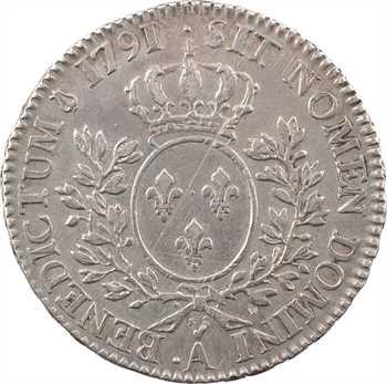Louis XVI, demi-écu aux rameaux d'olivier, 2d semestre, 1791 Paris (.A)