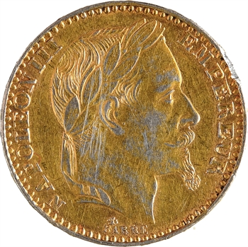 Second Empire, 20 francs tête laurée, faux en platine, 1867 Paris