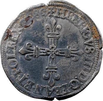 Henri III, quart d'écu croix de face, 1586 Saint-Lô