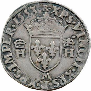 Henri II, demi-teston à la tête nue 5e type, 1553 Toulouse