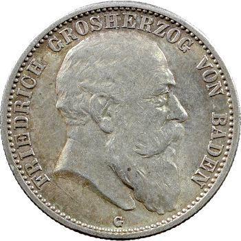 Allemagne, Bade (Grand-duché de), Frédéric I, 2 mark, 1907 Karlsruhe