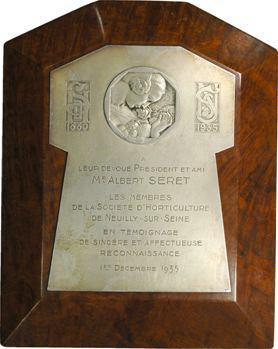 Neuilly : plaque commémorative, Société d'horticulture, 1935