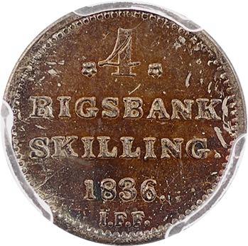 Danemark, Frédéric VI,  4 rigsbankskilling, 1836 Altona, PCGS MS63