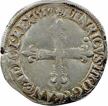 Henri III, quart d'écu croix de face, 1589 Nantes