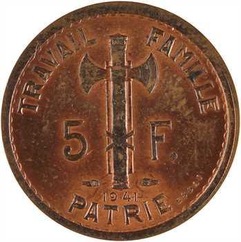 État français, essai de 5 francs Pétain type III en cuivre, 1941 Paris, frappe médaille non répertoriée