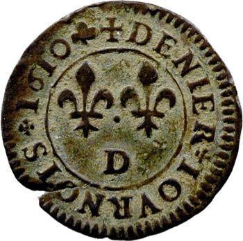 Henri IV, denier tournois, 1610 Lyon
