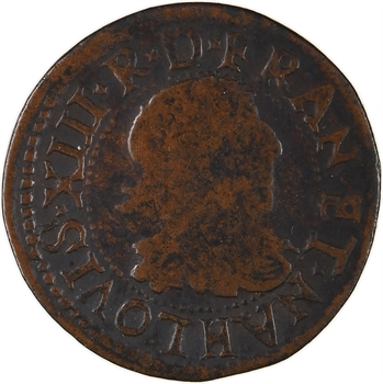 Louis XIII, double tournois 15e type, 1640 La Rochelle