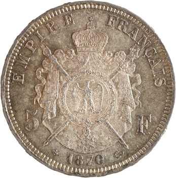Second Empire, 5 francs tête laurée, 1870 Strasbourg