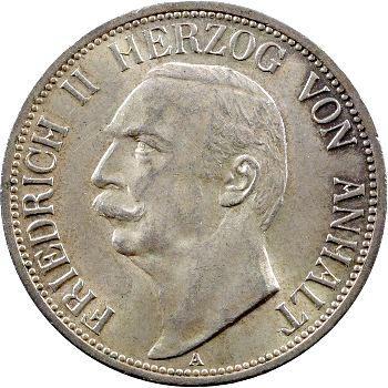 Allemagne, Anhalt (duché de), Frédéric II, 3 mark, 1909 Berlin