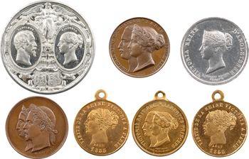 Royaume-Uni/France, visite de Victoria et Albert à Napoléon III le 18 août, lot de 7 médaillettes, 1855 Paris