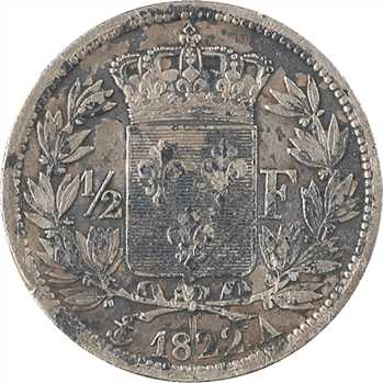 Louis XVIII, 1/2 franc, 1822 Paris