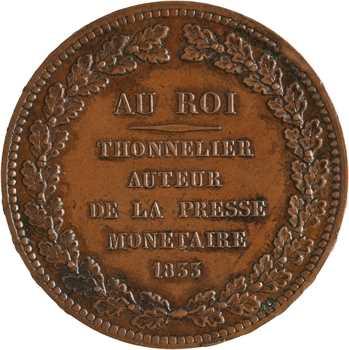 Louis-Philippe Ier, essai au module de 5 francs AU ROI, par Thonnelier, 1833 Paris
