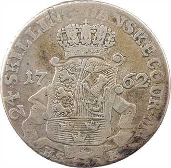 Danemark (royaume de), Frédéric V, 24 skilling, 1762 Copenhague