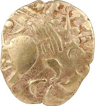 Aulerques Éburovices, hémistatère au loup, à la joue lisse et à l'astre, c.IIe-Ier siècle