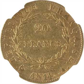 Premier Empire, 20 francs calendrier révolutionnaire, An 14 Paris, NGC AU58