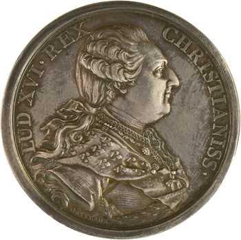 Louis XVI/Convention, mariage de Louis XVI et Marie-Antoinette, détournée en médaille de mariage, 1770 (AN II 1793) Paris