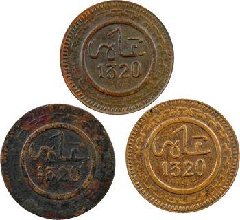 Maroc, Abdül Aziz I, lot de 3 x 1 mouzouna, axes variés, AH 1320 (1902) Fès