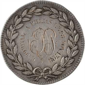 Directoire, prix du bon chef de famille, transformée en médaille de mariage, par Gatteaux, 1798 Paris