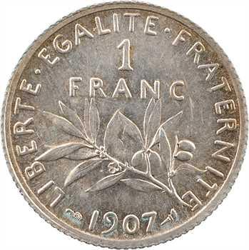 IIIe République, 1 franc Semeuse, 1907 Paris