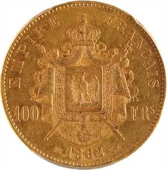 Second Empire, 100 francs tête laurée, 1862 Strasbourg, PCGS AU55
