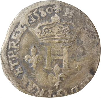 Henri III, double sol parisis, 2e type, 1580 Villeneuve-lès-Avignon