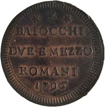 Vatican, Pie VI, 2 baiocchi 1/2, 1796 Rome