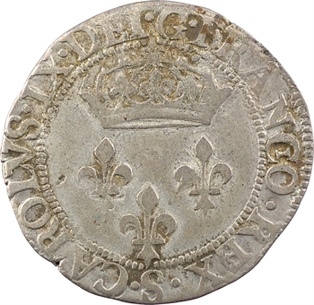 Charles IX, double sol parisis, 1574 Troyes