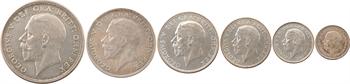 Royaume-Uni, Georges V, série de 6 monnaies de threepence à la couronne, 1927 Londres