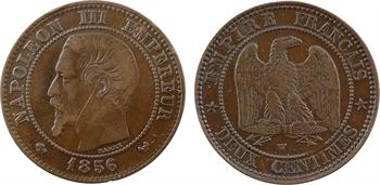 Second Empire, boîte de forçat dans une deux centimes tête nue, 1856 Lille